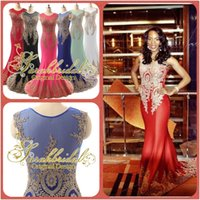 Reference Images dubai - Luxury Evening Dresses Sexy Gold Lace Appliques Royal Blue Fuchsia Mint Mermaid Sheer Crew Neck Backless India Dubai Formal Party Gowns