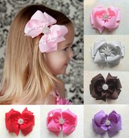 Wholesale 20 Color Baby Kids Shining Ribbon Rhinestone Barrettes Fashion Baby Girl Dovetail Style Multicolor Bow Hair Clip Children Ribbon Accessories