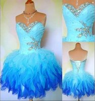 Wholesale Cheap Sweetheart Strapless Mini Dress Sleeveless Ruffles Tulle Rhinestone Crystal Homecoming Dresses Prom Cocktail Dres