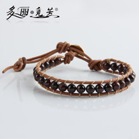 Wholesale Leather Beaded Wrap mm Natural Garnet Bracelet Beads Bracelets Conducive to Health Women Men Jewelry