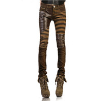 Wholesale ECW High quality PU leather jeans for women fashion Casual pants feet Denim jeans for woman pencil pants big size black