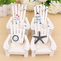 Decal PVC Animal 1Pcs Lot Wholesale Mini Wooden Chair Nautical Home Decor Photo Props Mini Beach Chairs Decor Ornaments Multi Pattern Optional