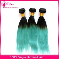 Cheap Hot Sale Virgin Peruvian Ombre Hair Extensions #1B Green 3Bundles Two Tone Hair Weaves Silky Straight Ombre Peruvian Hair Wefts 3Pcs Lot