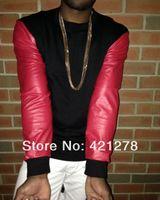 Wholesale Hip Hop Men Sweatshirt Fashion Side Gold Zipper Round neck Red Snakeskin PU Leather Design Long Sleeve Sport Hoody Hoodies
