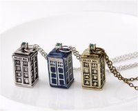 Wholesale new colors Doctor who Tardis pendant necklace vintage mysterious Ancient Silver gold blue antique Jewelry for boys and girls D420