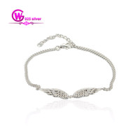 Wholesale new sterling silver Bracelets Angel Wings with pearl jewelry for fashion store No90 BR001