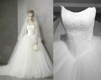 Cheap Real Image vestido de novia Pure Wedding Dresses With Lace Strapless Tulle Train Sweep 2015 Elegant Custom Made Bridal Ball Gowns Party