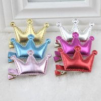 baby girl indian dresses - 2 Cute Baby Girls PU Leather Dress Party Hair Clips Crown Princess Barrette Hairpins Hair Accessories H273