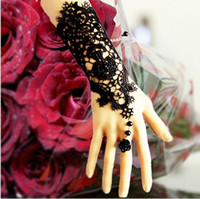Wholesale Sheer Wrist Length Gloves - wedding gloves Retro gothic exaggerated the bride gloves black lace wedding dress accessories bridesmaid studio jewelry bracelet ring BB04