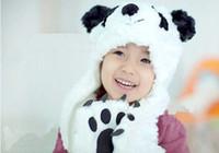 Wholesale sets new cartoon panda shape the children hats scarves gloves children cap Velvet white