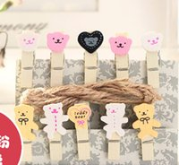 wooden hearts - Mini Wooden note clip Clothes Clip photo Clip Wood Peg Craft pin Decration colorful cartoon clips love heart teddy bear yellow cute face