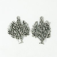 Alloy olive tree - 150pcs Fashion Jewelry Making Findings Zinc Alloy Olive Tree Pendant Charm Antique Silver Plated Necklace Pendant Charm Beads DH BJI033