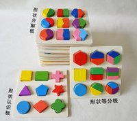 Wholesale Early childhood educational toys geometry jigsaw puzzle wooden blocks equal number plate