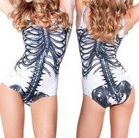 Wholesale 2015 European and American style explosion models women s swimsuit sexy of rib bones digital printing one piece swimsuit