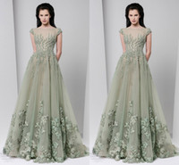 Wholesale Tony Ward Spring Summer Evening Dresses Sheer Neck Applique Beads Cap Sleeve Prom Dresses Floor Length Tulle Formal Party Dresses