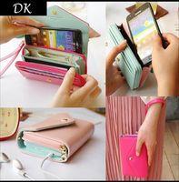 Wholesale Promotion Multifunction Women Wristlet Wallets Coin Case Purse For Iphone Galaxy Case Iphone Wallet Billete