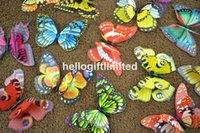 Wholesale 700pcs quot Double Layer Multi Color Butterfly Fridge Magnet Note Holder Home Office Scene Weddiing Decoration Promotion Gift