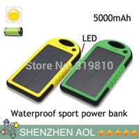 Wholesale DHL free Waterproof mAh Solar Charger and Battery Solar Panel Dual Ports With Flashlight Portable Power Bank