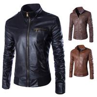 Wholesale New leather jacket men winter coat stand up collar chaquetas de cuero hombre brown color jaqueta couro