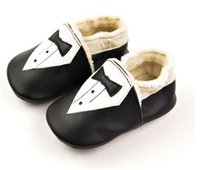 Wholesale pairs Autumn kids toddler shoes handmade baby shoes cute small suit black tie leather Stitching Infant Moccasins