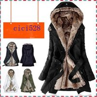 Wholesale A453 women winter new fashion colors faux fur lining warm hooded coats ladies medium long deisgn plus size jackets coats S XXXL