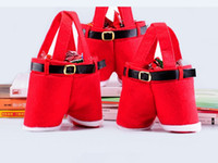 Wholesale 20Pcs Santa pants Christmas Decoration Christmas Wedding Candy Bags Lovely Gifts Xmas Bag For Children X17CM H438B