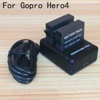 Wholesale Gopro Hero4 Charger mAh Li ion Batteries Dual Batteries Charger For Gopro Hero4 go pro hero Gopro Charger AHDBT AHDBT401