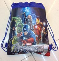 Wholesale In Stock Drawstring Bags Cartoon The Avengers Superhero Backpack Kids School Bag Sports Handbag Children Party Gift