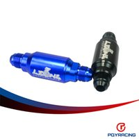 Wholesale PQY RACING Billet In Line Street Fuel Filter AN Male Blue Black microns Fuel filter AN8 PQY5580