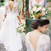 Reference Images 3 4 sleeve plus size wedding dresses - 2016 Bohemian Wedding Dresses Lace Chiffon V neck Long Sleeves Low Sheer Back A line Sheer Plus Size Summer Beach Bridal Wedding Dress