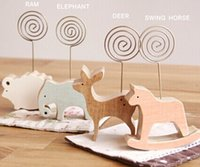 Wholesale New Cute Animal Wooden Place card holder for wedding favors message folders notices clip bookmark notes Memo Clip
