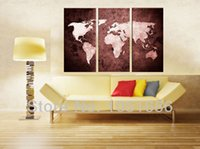 Cheap Vintage World Map Oil Painting Large Canvas Wall Art Modern Abstract 3 Panel Decorative Picture For Home Living Room