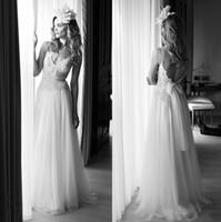 Wholesale Lihi Hod Bohemian Wedding Dresses Beach Bridal Gowns Spaghetti Straps V Neckline Lace Bodice Tulle A line Skirt Full Length Low Back