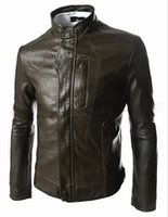 Wholesale Europe and America men s climbing inspired cut leisure fashion pocket design leather coat