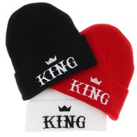 cotton wool roll - Winter Beanie UNISEX KING Crown Roll up Hem Hats Touca Sport Skullies Casual Caps Cotton Wool Knitted Hat For Men And Women
