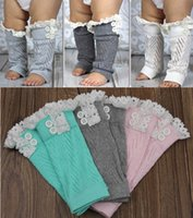 Wholesale 2015 New baby lace leg warmers lace knit leg warmers Crochet lace trim legwarmers baby Boot Cuffs cover socks Button Lace Leg Warmers