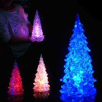 Wholesale 100pcs DHL Christmas tree LED night light Halloween gifts crystal Christmas night lamp seven color changing order lt no