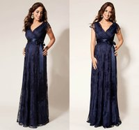 Wholesale Navy Blue Prom Dress Full Lace Empire Waist Maternity Deep V neck Ribbons Sheer Strap Vestido De Fiesta Mother Of Bridal Dress Evening Gowns