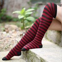 Cotton ladies socks - Top quality Classic Stripe lady socks Cotton knee high socks girl socks lady sock colors Female fashion socks A352L