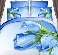 Cheap 3D Blue Rose flower print bedding set duvet cover california king queen double size full fitted cotton bed sheet bedspreads bedsheet 6pcs