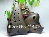 ac open - holes Double tube AC black ceramic flute Smoked burning Ocarina flute music instrument Good quality sound