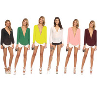 Wholesale Candy Colors New Fashion Women Chiffon Blouses Autumn Female Sexy Deep V neck Top Blusas Long sleeve Zipper Chiffon Shirts G0742