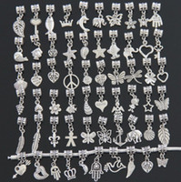 Wholesale New Mixed styles Tibet Silver Assorted Heart Flower Angel Butterfly Dangles Beads Fit European Pandora Charm Bracelet Jewelry DIY Metal