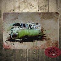 antique cars pictures - VW Classic bus painting Pub decorative Picture plaques car garage