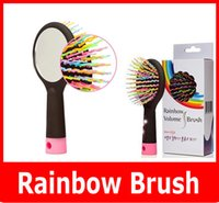 Cheap 1 rainbow brush with mirror Best All Hair Types PVC rainbow comb