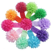 Wholesale baby Headwear Head Flower Hair Accessories inch Chiffon flower with soft Elastic crochet headbands stretchy hair band color