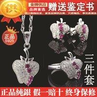 apple gift certificate - Factory Gift certificate Little Apple genuine S925 Silver three piece full diamond ring pendant earrings rhodium Valentine s Day