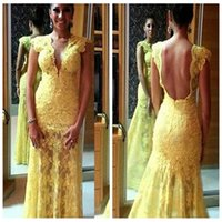 african lady pictures - Sexy Deep V Neck Yellow Lace Mermaid Prom Dresses Sexy Backless Beaded Sequined Formal African Evening Dress New Ladies Custom