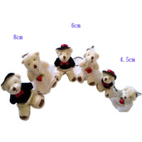 Wholesale cm Mini Stuffed MINI wedding Teddy joint Bear Toys Mobile Phone Chain Lovers Wedding Gift Bride Bride groom Figure
