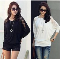 Wholesale Crochet Shirts For Women - 2016 New Fashion Ladies Loose Batwing Dolman Lace Blouse Sexy Long Sleeve Blouse Casual Blouse for Women Tops T-shirt Shirts crochet top